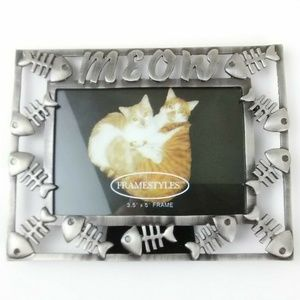 MEOW Cat Themed Metal Picture Frame by FRAMESTYLES